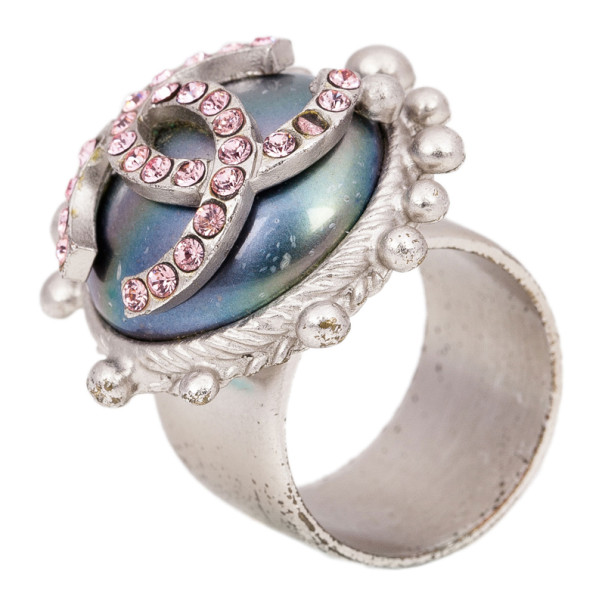 Chanel CC Logo Pearl Pink Crystal Ring Size 54.5