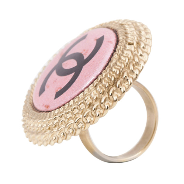 Chanel Pink Round Logo Large Ring Size 53