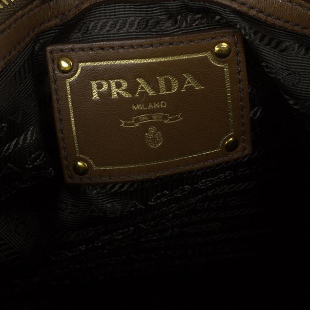 Prada Brown Lambskin Bow Detail Medium Hobo