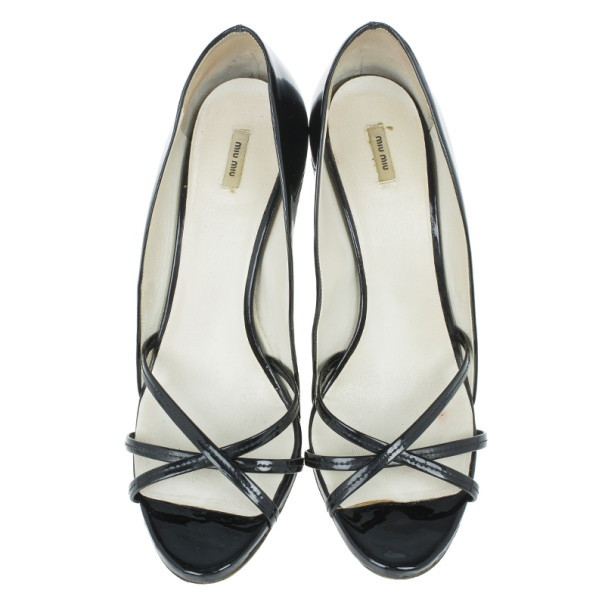 Miu Miu Black Patent Crisscross Studded Heel Pumps Size 39.5