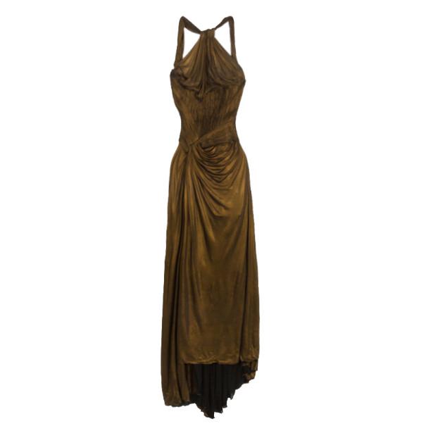 Roberto Cavalli Bronze Metallic Evening Dress M