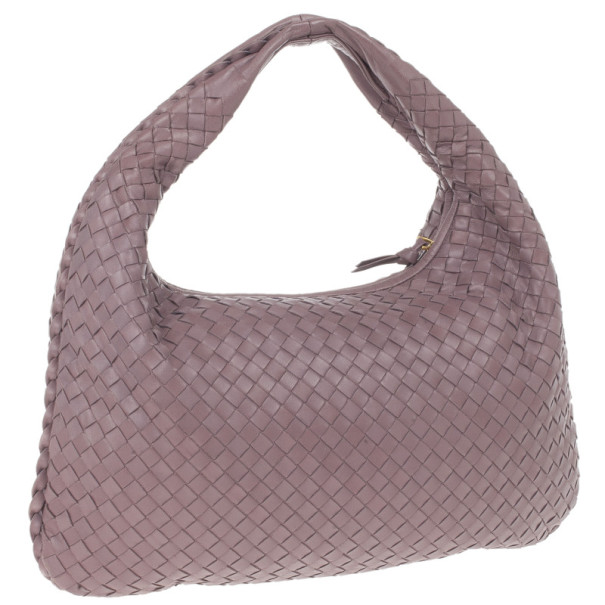Bottega Veneta Purple Leather Intrecciato Hobo