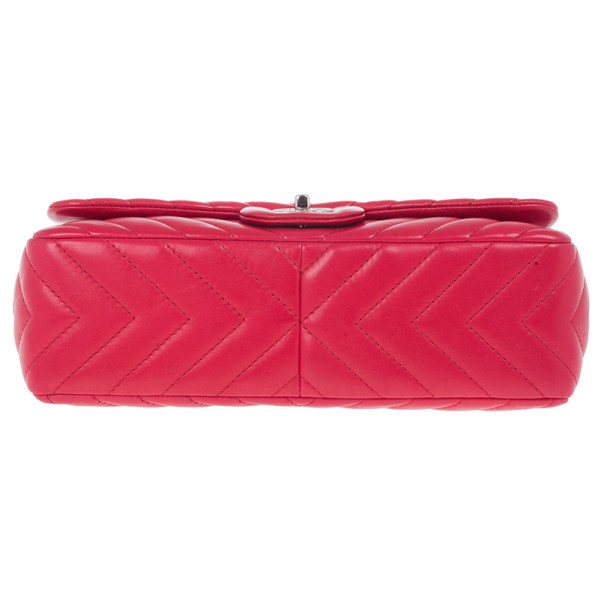 Chanel Pink Lambskin Chevron Medium Flap Bag