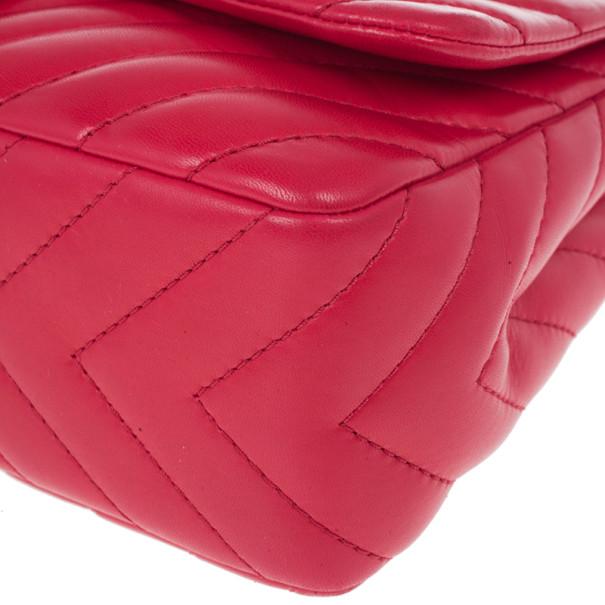 Chanel Pink Lambskin Chevron Medium Flap Bag
