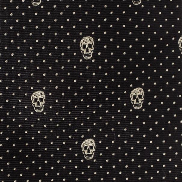 Alexander McQueen Black Woven Skull Silk Tie