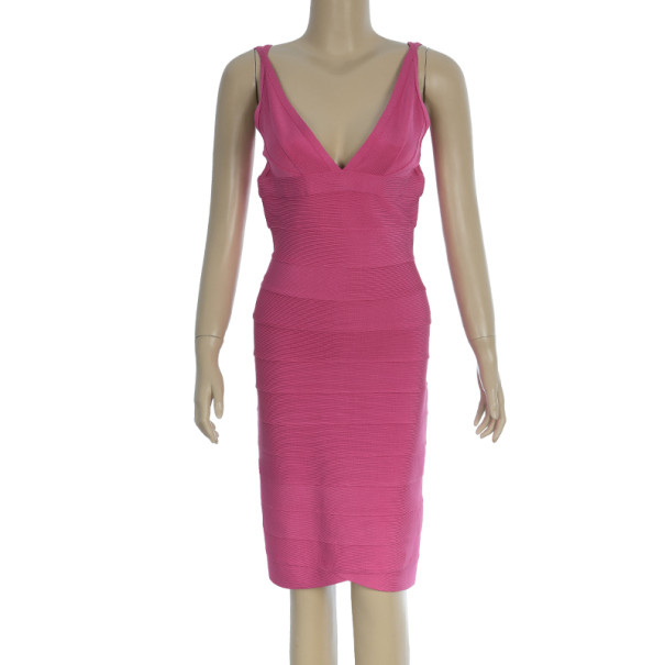 Herve Leger Signature Hot Pink Bandage Dress M