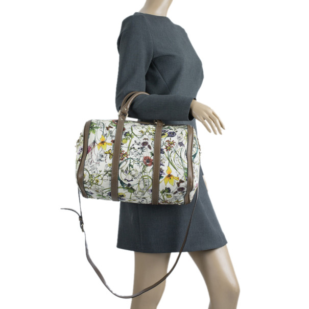 Gucci Floral Print Canvas Boston Bag
