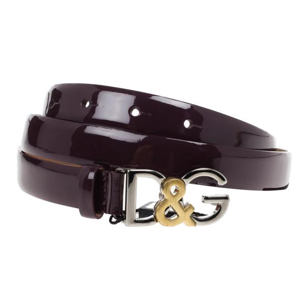 Dolce and Gabbana Burgundy Patent Logo Belt 90 CM