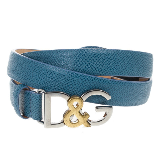 Dolce and Gabbana Blue Leather Logo Belt 85 CM