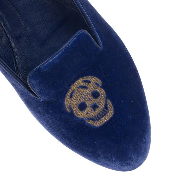 Alexander McQueen Blue Velvet Skull Smoking Slippers Size 40