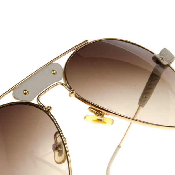 Chloe Gold Rimmed Womens Aviators With White Leather Trim