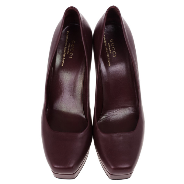 Gucci Maroon Leather Charlotte Platform Pumps Size 39