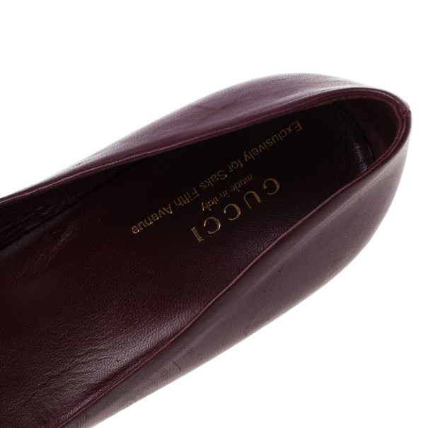 Gucci Maroon Leather Charlotte Platform Pumps Size 39