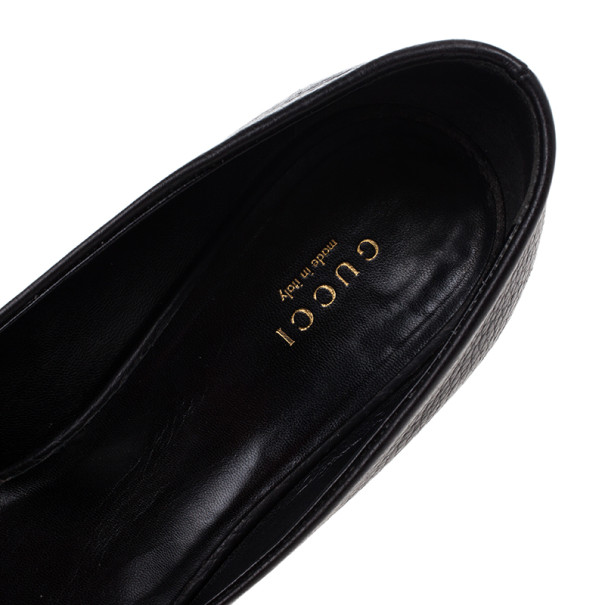 Gucci Brown Leather Ride GG Buckle Peep Toe Pumps Size 39