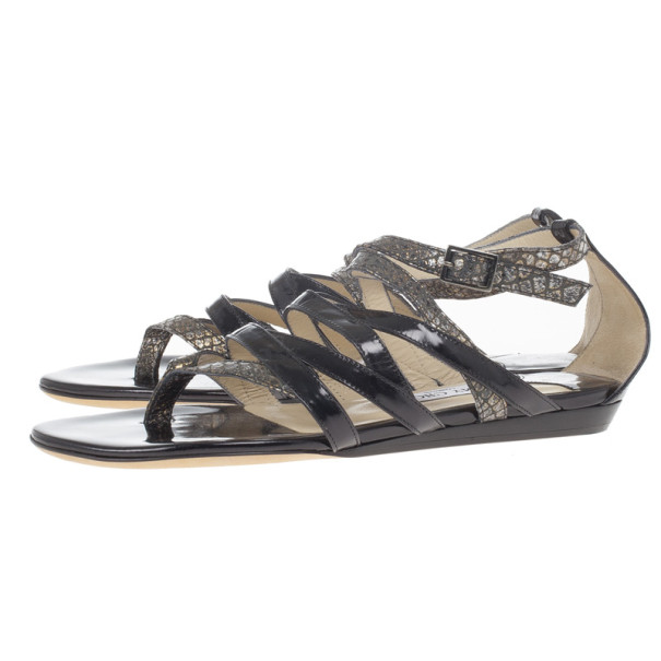 Jimmy Choo Patent and Snake Embossed Leather Thong Gladiator Sandals Size 38.5