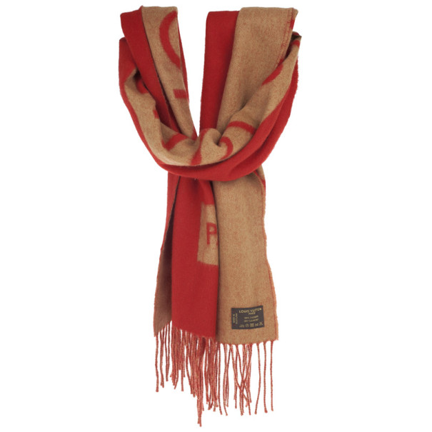 Louis Vuitton Red and Beige Cashmere Scarf