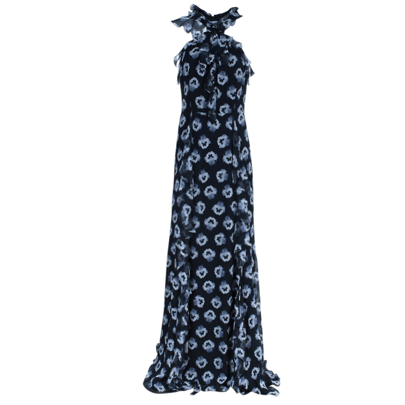 Prabal Gurung Maxi Chiffon Silk Printed Ruffle Dress L