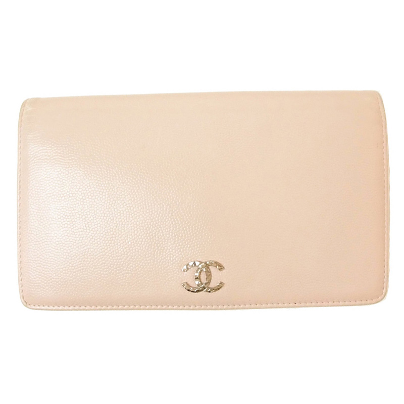 Chanel Pink Leather Brilliant L Yen Holder Wallet