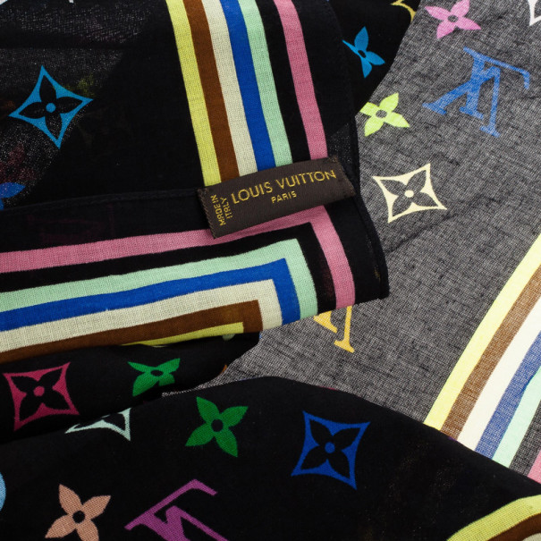 Louis Vuitton Black Monogram Multicolor Square Scarf
