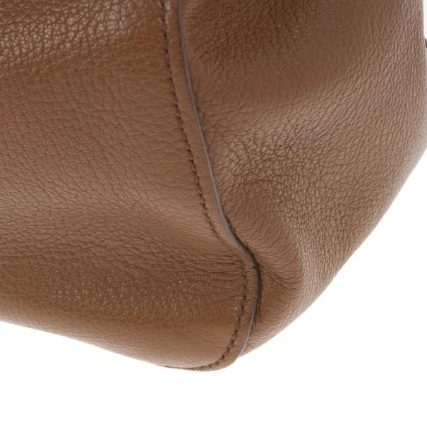 Miu Miu Brown Leather Textured Tote