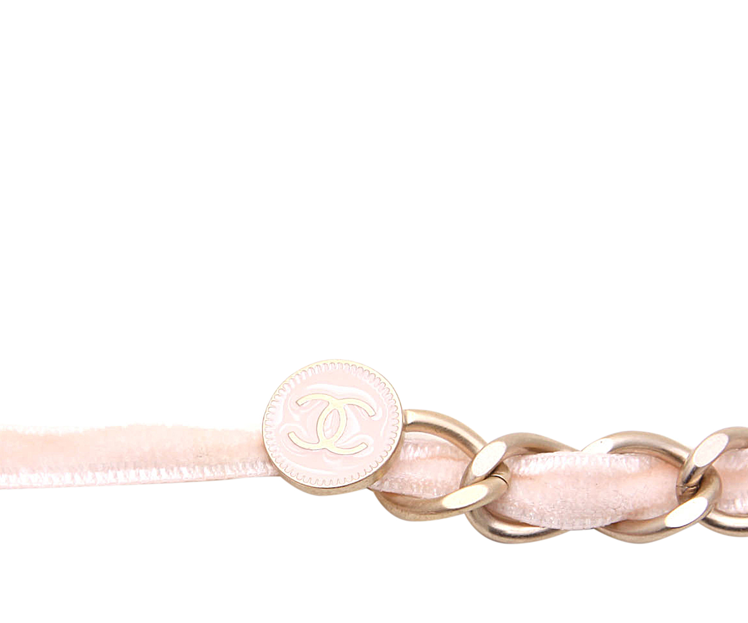 Chanel Pink Leather and Chain Camellia Belt