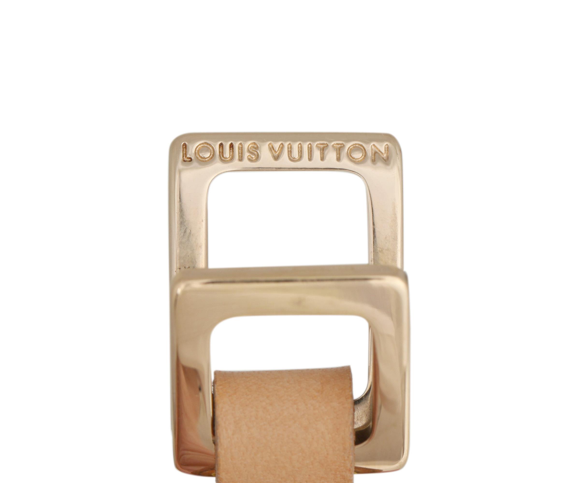Louis Vuitton Beige Leather Skinny Belt 85 CM