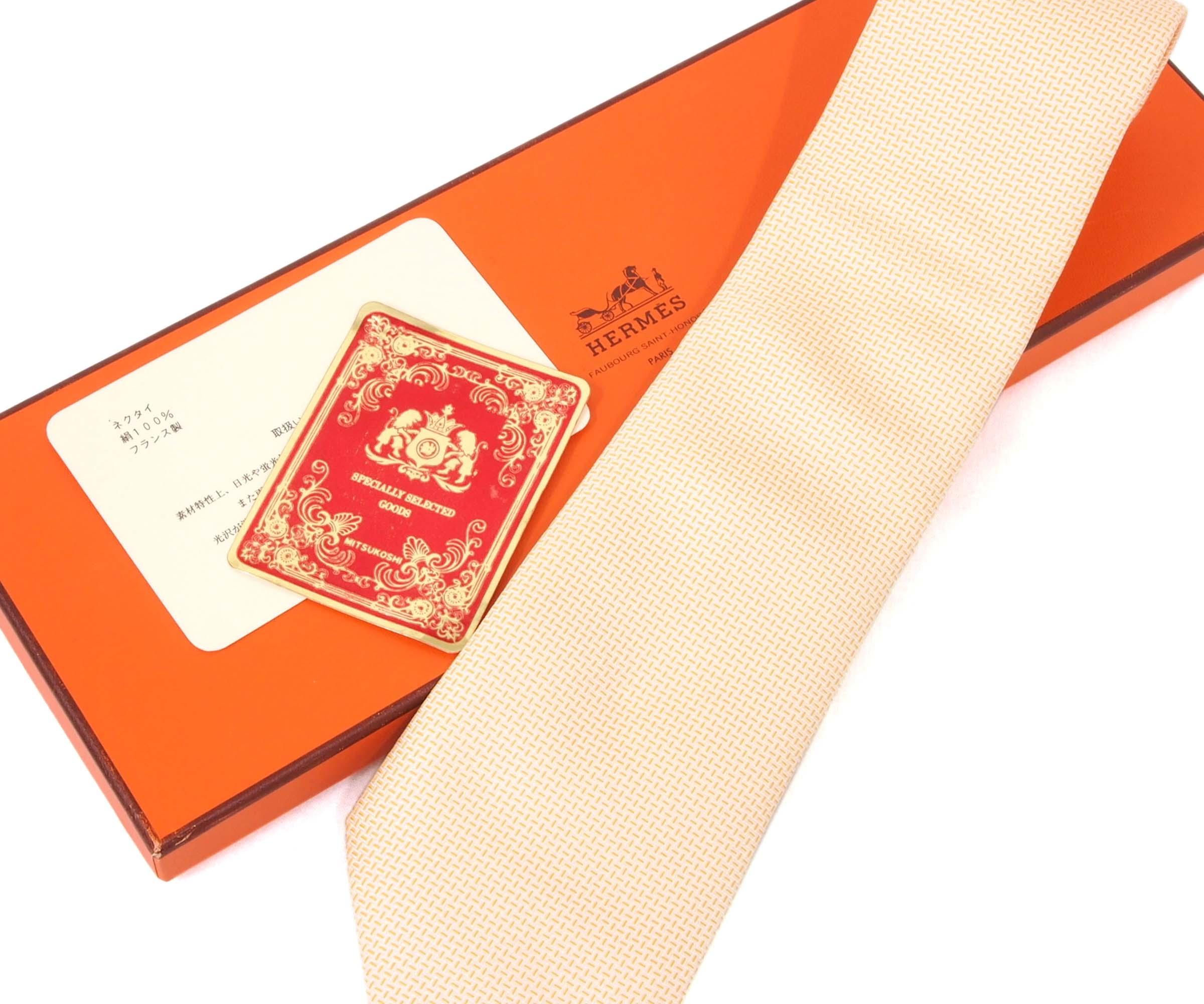 Hermes Peach Silk Tie