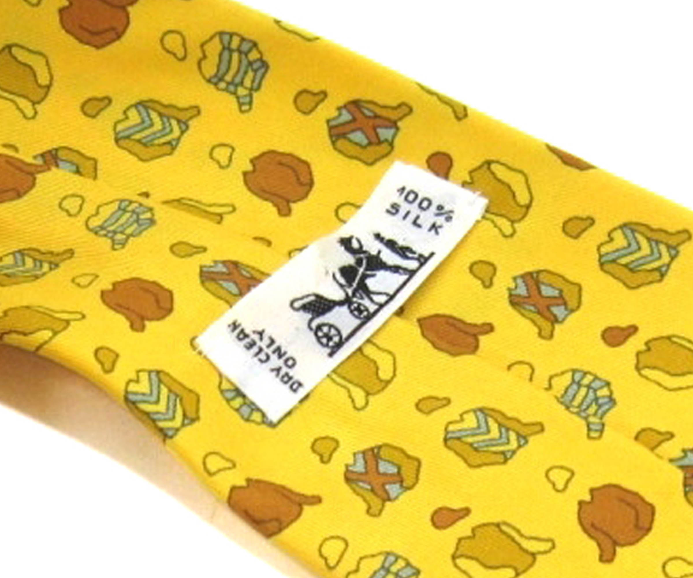 Hermes Yellow Jacket and Cap Print Silk Tie