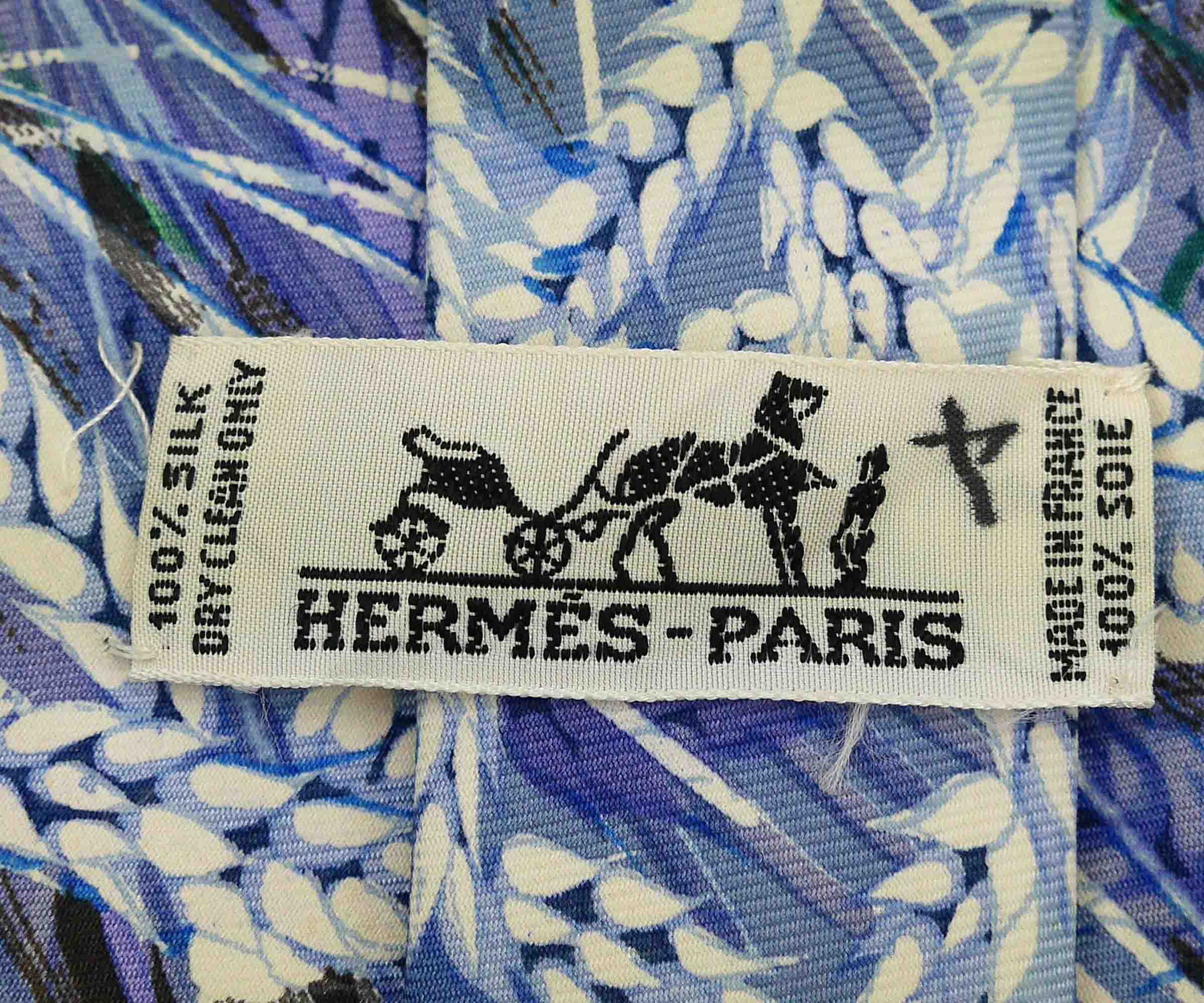 Hermes Blue Wheat Printed Silk Tie