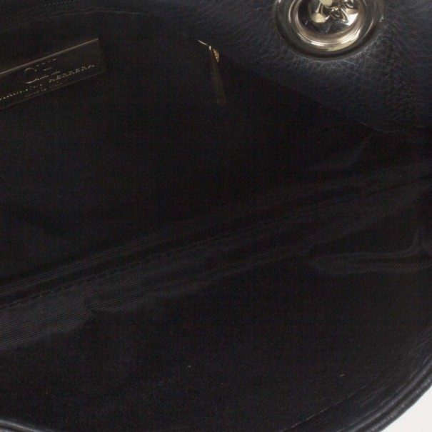 Carolina Herrera Black Monogram Leather Small Audrey Shoulder Bag