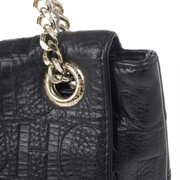 Carolina Herrera Black Monogram Leather Small Audrey Shoulder Bag