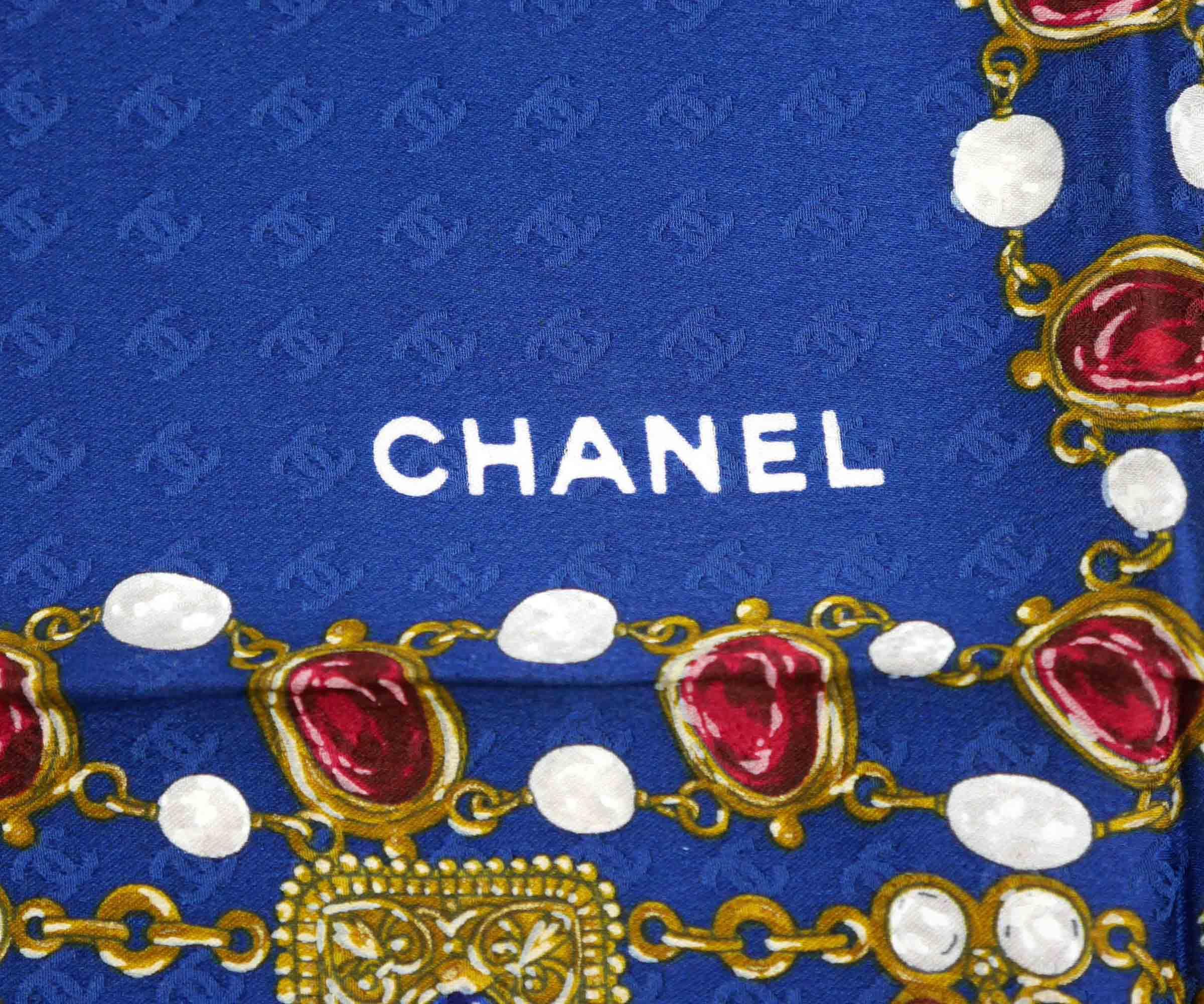 Chanel Blue CC Chain Print Scarf