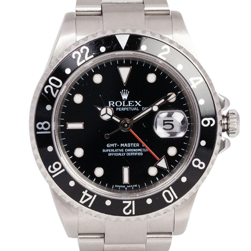 Rolex Black Stainless Steel GMT Master II Men's Wristwatch 40MM