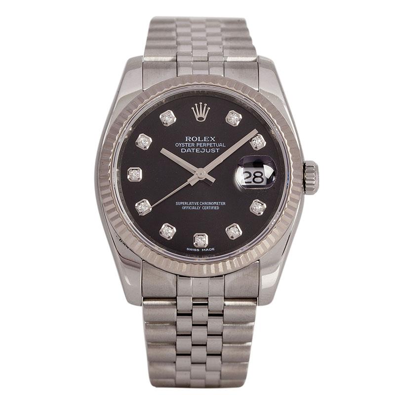 Rolex Black Stainless Steel Datejust Men's Wristwatch 36MM