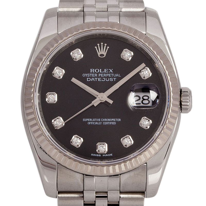 Rolex Black Stainless Steel Datejust Men's Wristwatch 36MM