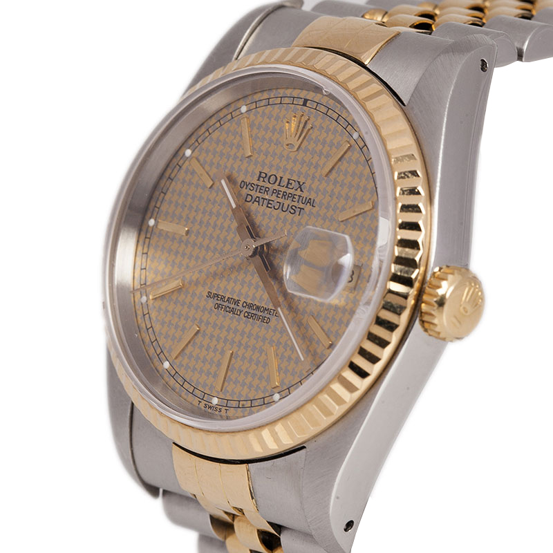 Rolex Gold Grey Stainless Steel and 18K Yellow Gold Datejust Men's Wristwatch 36MM