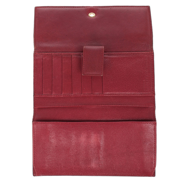 Alexander McQueen Red Leather Skull Continental Wallet