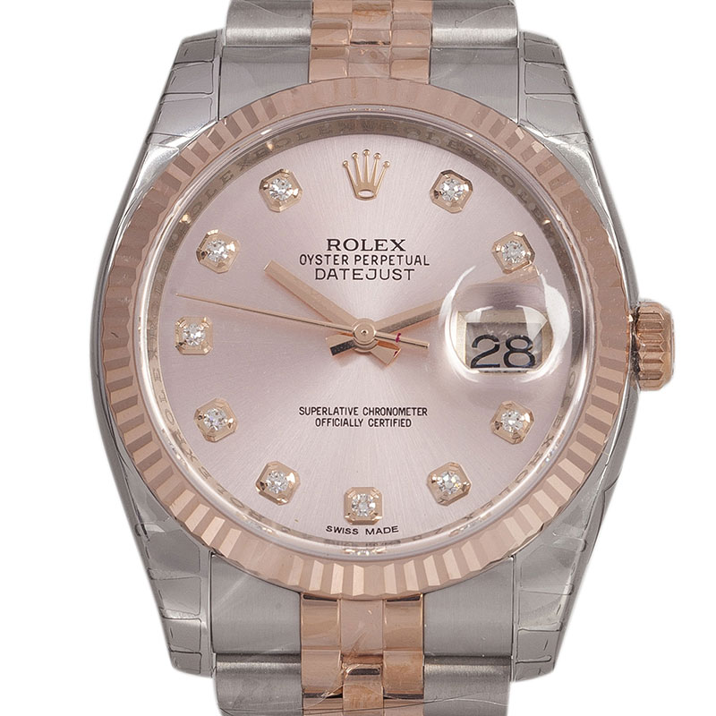 Rolex Pink Champagne Stainless Steel and 18K Pink Gold Datejust Women's Wristwatch 36MM