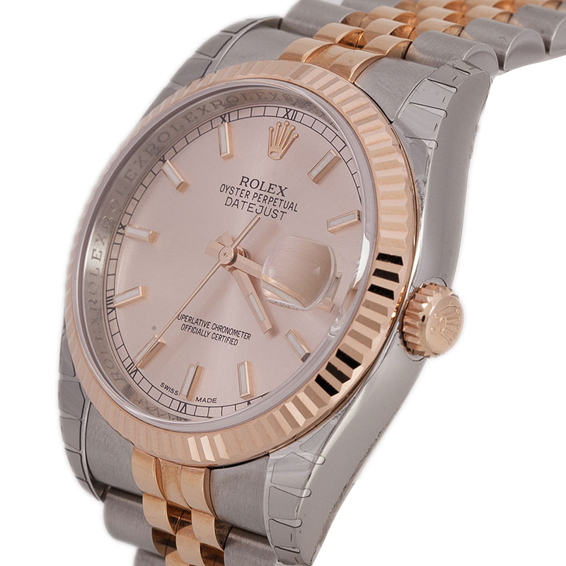 Rolex Pink Stainless Steel and 18K Pink Gold Datejust Women's Wristwatch 36MM