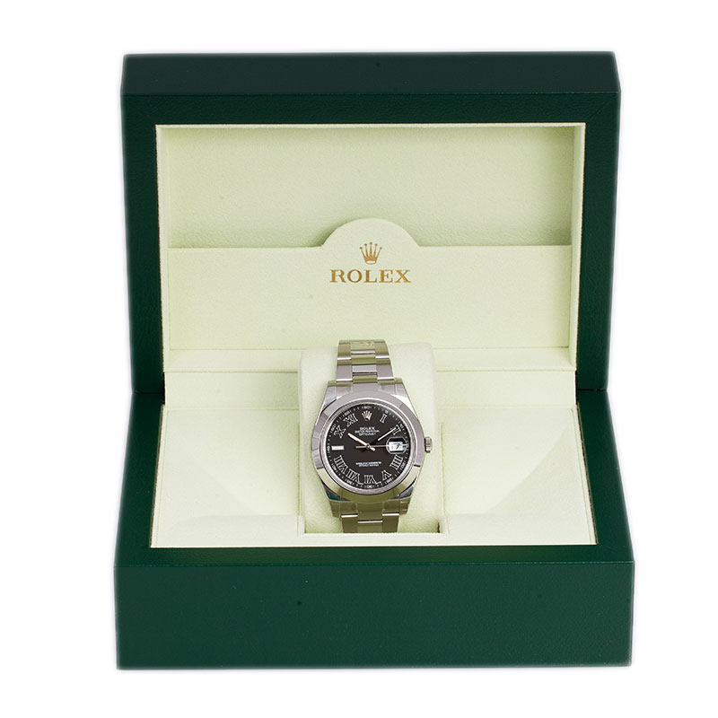 Rolex Black Stainless Steel Datejust II Men's Wristwatch 41MM