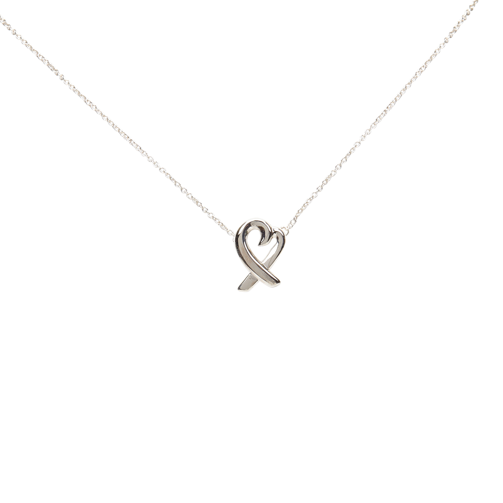 Tiffany & Co. Paloma Picasso Loving Heart Silver Pendant Necklace