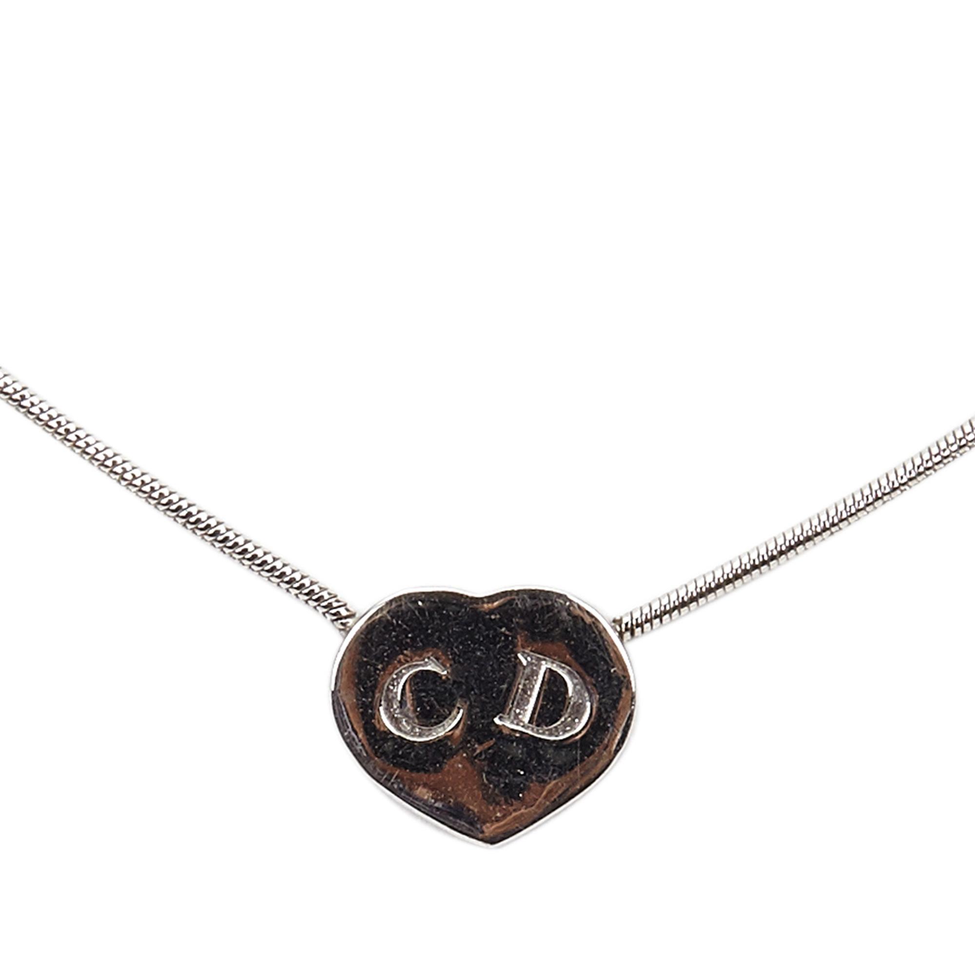 Dior Crystal Heart Pendant Silver Tone Necklace