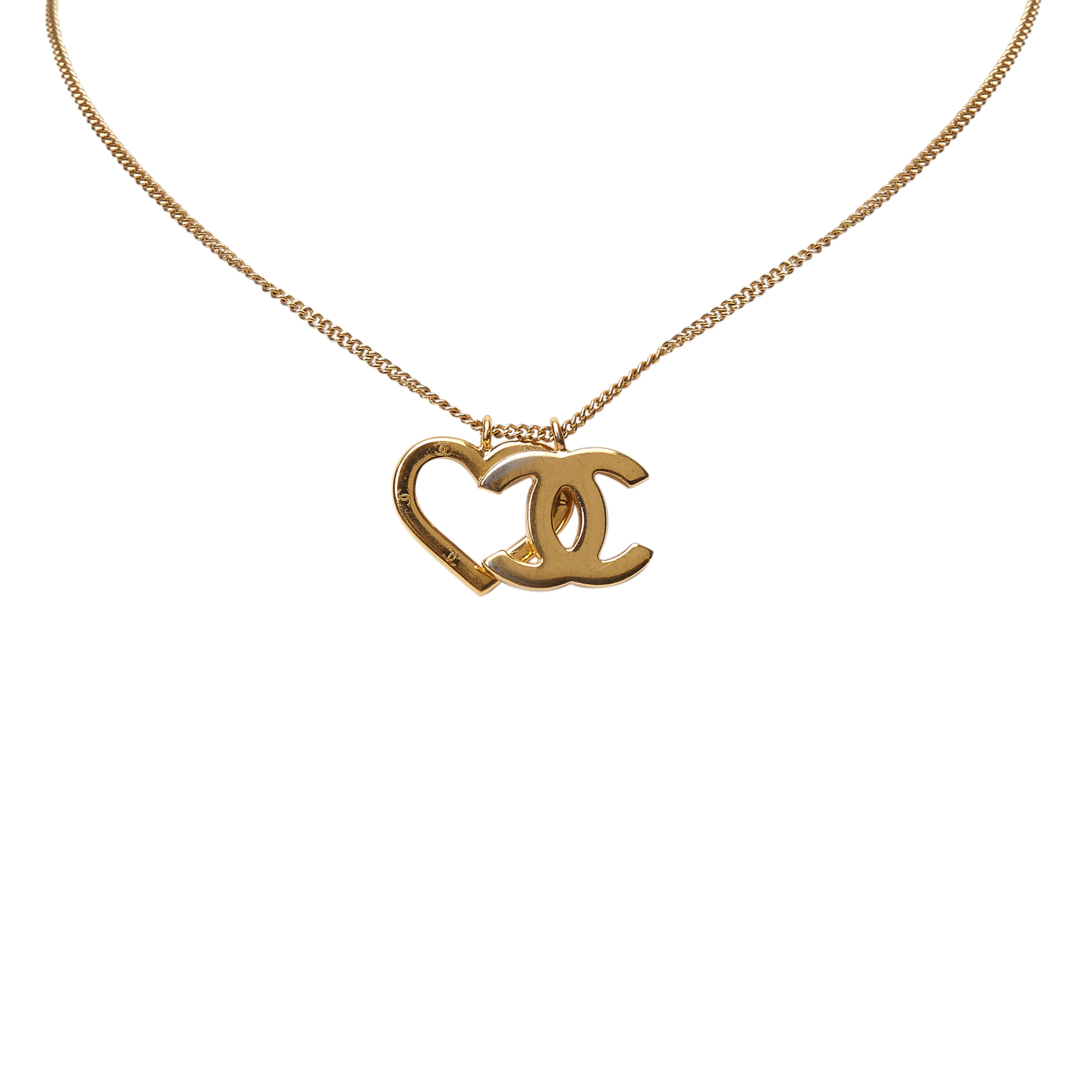 Chanel CC Heart Pendant Gold Tone Necklace