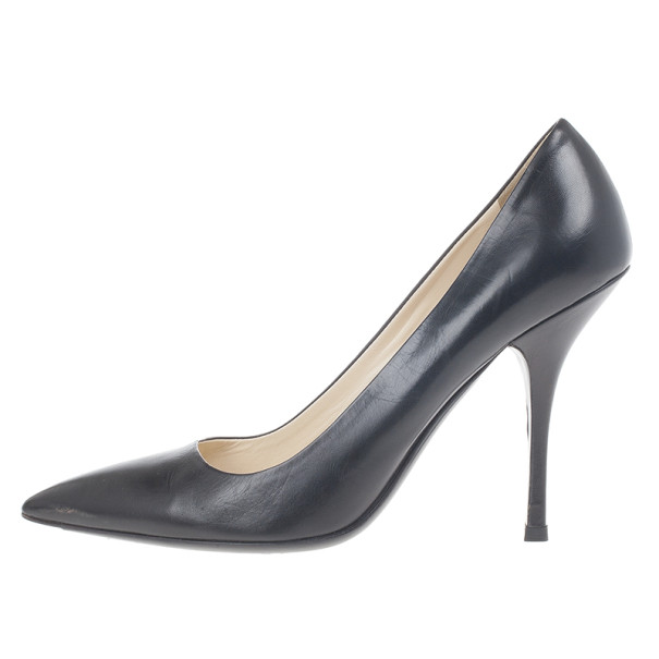 Prada Black Leather Pointed Toe Pumps Size 39.5