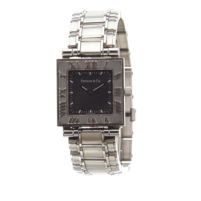 Tiffany & Co. Black Stainless Steel Atlas Women's Wristwatch 15MM