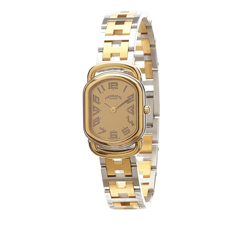 Hermes Gold Stainless Steel Gold Toned Rallye RA1.240 Women's Wristwatch 20MM