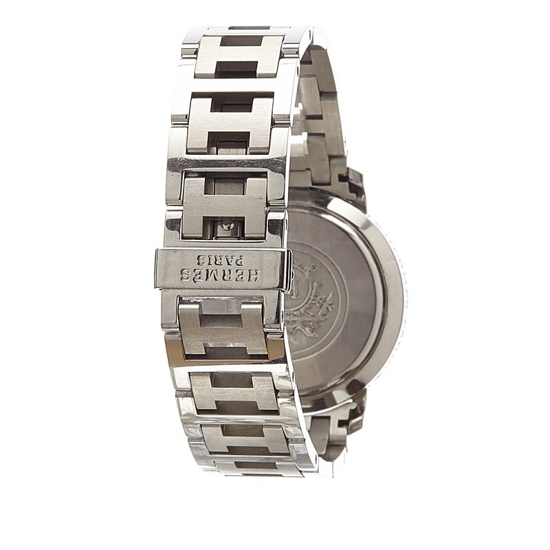 Hermes White Stainless Steel Clipper CL1.310 Women's Wristwatch 31MM