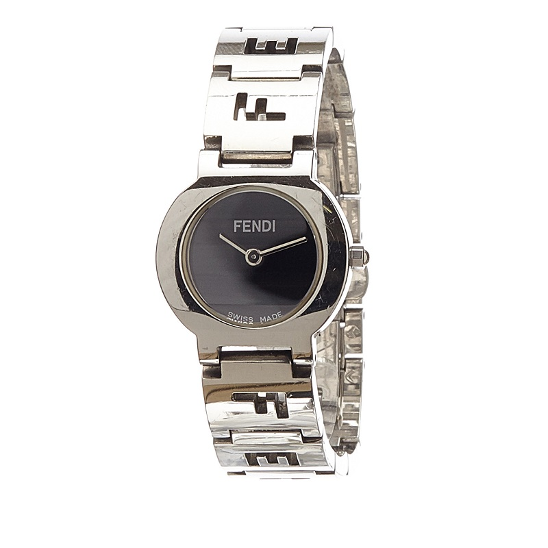 Fendi Black Stainless Steel 3050L Stella Women's Wristwatch 24MM
