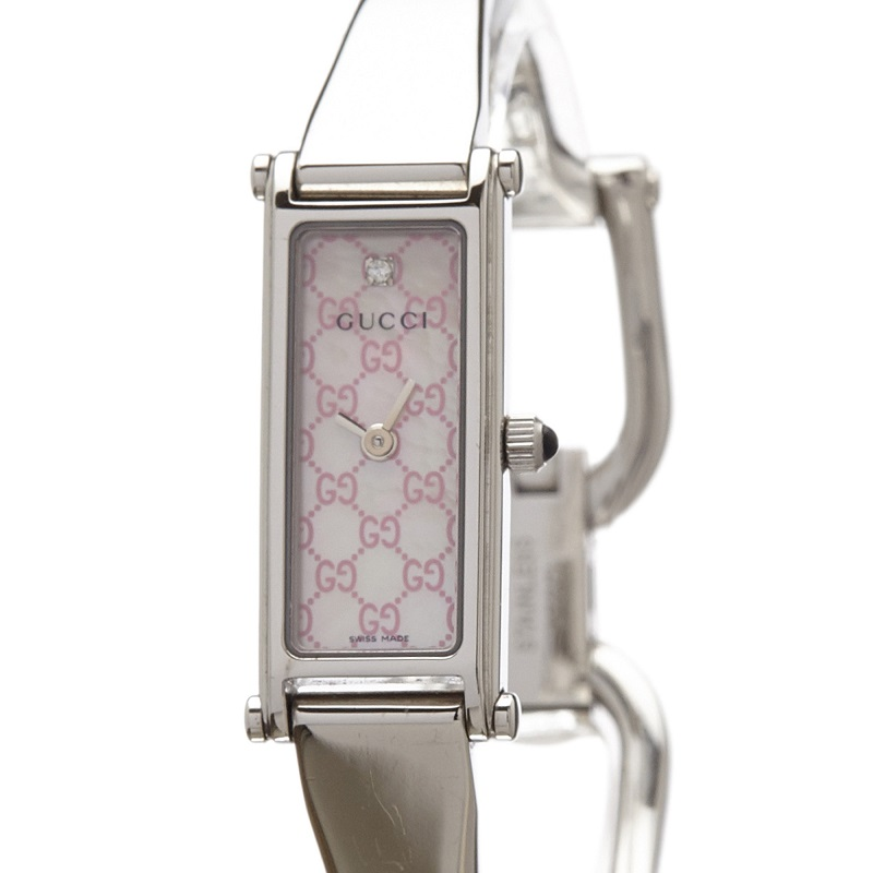 Gucci Pink Logo Stainless Steel 1500L Women's Wristwatch 12MM