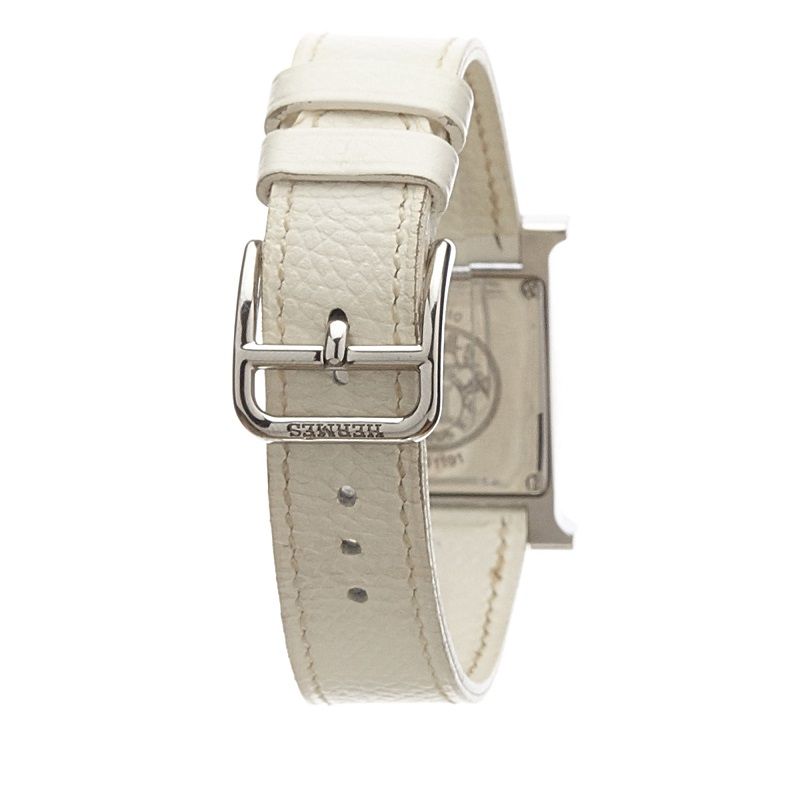 Hermes White Stainless Steel Heure H Women's Wristwatch 21MM